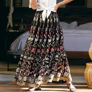 Soft Surroundings Moonlit Vines Maxi Skirt L